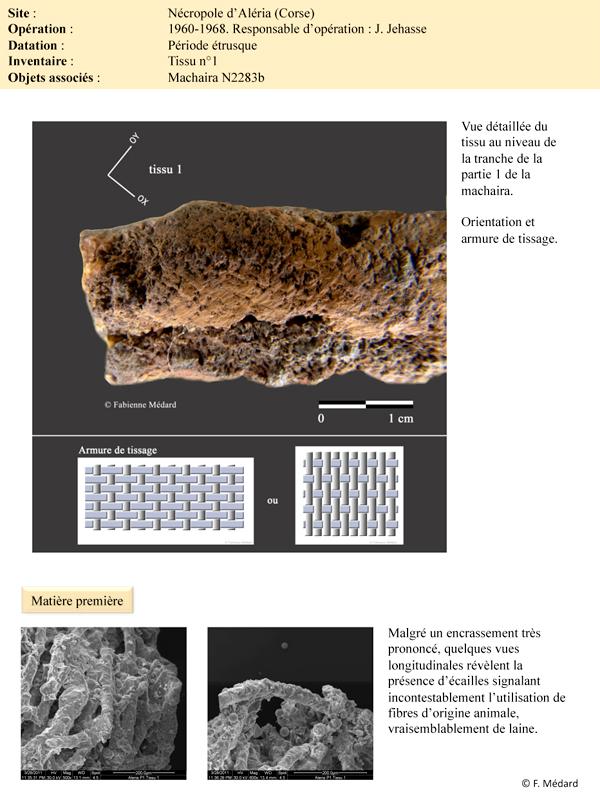 Analyses des textiles anciens avec l'appui de ANATEX, Fabienne MEDARD